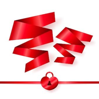 Nastri rossi a forma di due cuori