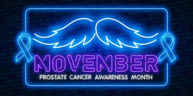 Nastro blu. neon movember, nastro blu di consapevolezza del cancro alla prostata con baffi al neon.