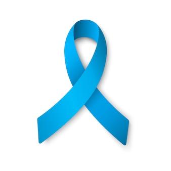 Nastro blu realistico. concetto di giornata mondiale del cancro alla prostata. concetto di assistenza sanitaria degli uomini.