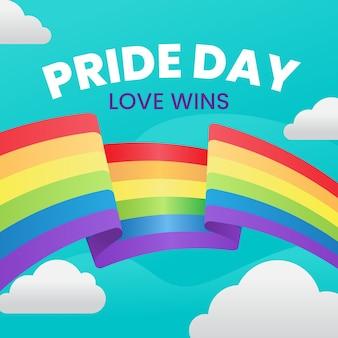 Nastro della bandiera di pride day intorno al fondo delle nuvole