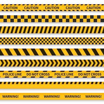 Nastro della polizia. barricata nastrata gialla avvertimento pericolo polizia strisce criminalità sicurezza linea attenzione confine barriera, set piatto