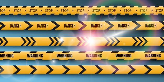 Nastro di avvertimento barriera su sfondo trasparente. illustrazione.