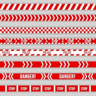 Nastro di avvertimento della polizia, attenzione. barricata rossa e bianca, non attraversare, polizia, linea di pericolo del crimine, nastro barriera rosso scena ufficiale del crimine. segni di pericolo.