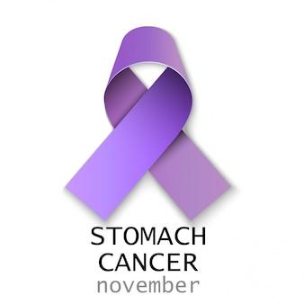 Nastro di cancro allo stomaco sul retro bianco