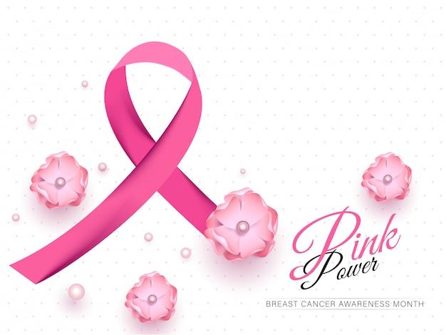 Nastro di consapevolezza del cancro al seno con fiori e perle decorato su bianco per pink power
