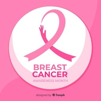 Nastro di consapevolezza del cancro al seno design piatto