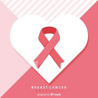 Nastro di consapevolezza del cancro al seno in design piatto