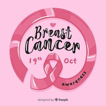 Nastro di consapevolezza del cancro al seno in stile disegnato a mano