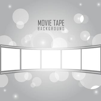 Nastro di film d'argento con cerchi sopra argento sfondo vettoriale