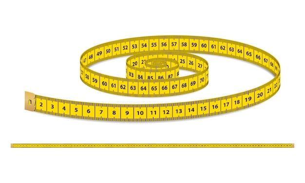 Nastro di misurazione realistico giallo, cinturino per abbigliamento isolato