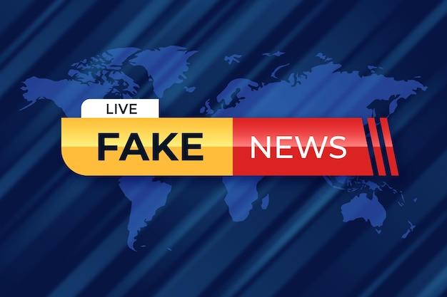 Nastro di notizie false dal vivo sullo sfondo della mappa del mondo