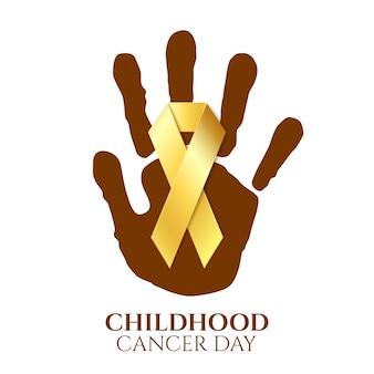 Nastro dorato di giorno del cancro dell'infanzia sulla stampa della mano del bambino superiore su fondo bianco. illustrazione.