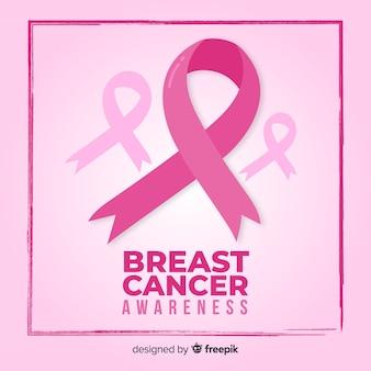 Nastro e fondo di rosa di mese di consapevolezza del cancro al seno