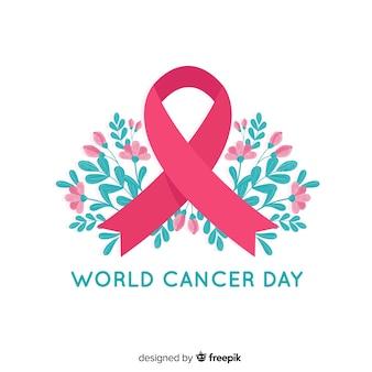 Nastro floreale di consapevolezza di giornata mondiale del cancro su fondo bianco