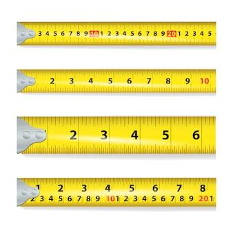 Nastro giallo misura su bianco