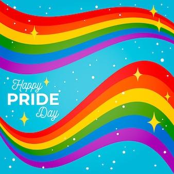 Nastro lucido della bandiera di giorno di orgoglio su fondo blu
