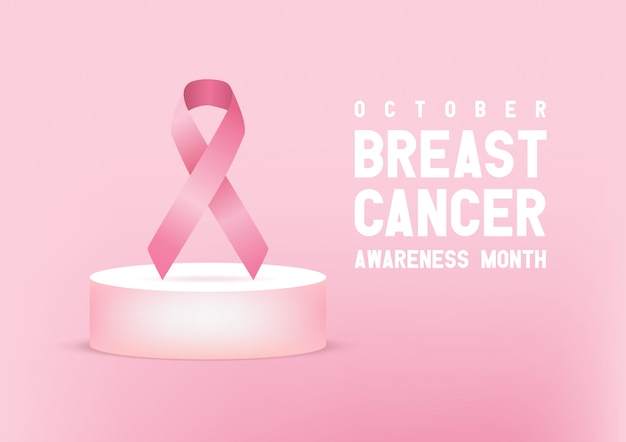 Nastro rosa di consapevolezza del cancro al seno. banner di giornata mondiale del cancro al seno.