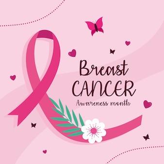 Nastro rosa di consapevolezza del cancro al seno con disegno di fiori e farfalle, tema della campagna.
