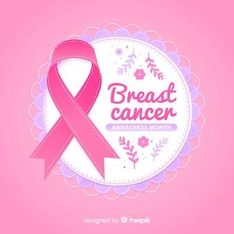 Nastro rosa per consapevolezza del cancro al seno con testo