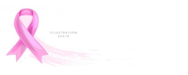 Nastro rosa realistico, simbolo di consapevolezza del cancro al seno, illustrazione.