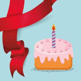 Nastro rosso candela dolce torta