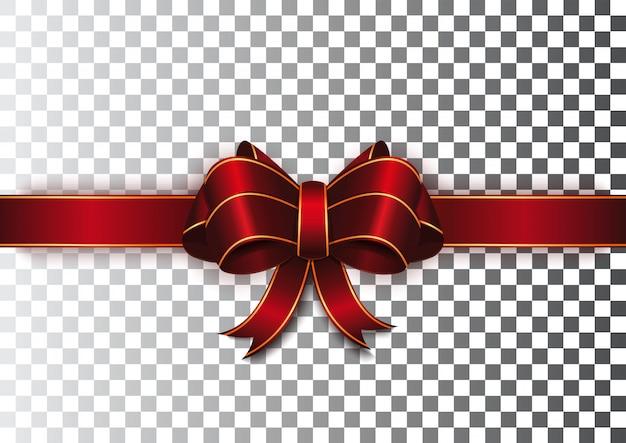 Nastro rosso con un fiocco su uno sfondo trasparente. nastro rosso festivo con bordi in oro. realistico