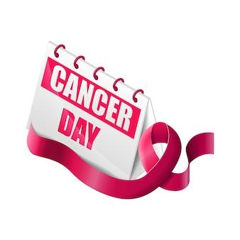 Nastro rosso della strega di giorno del mondo del cancro isometrico del calendario isolato