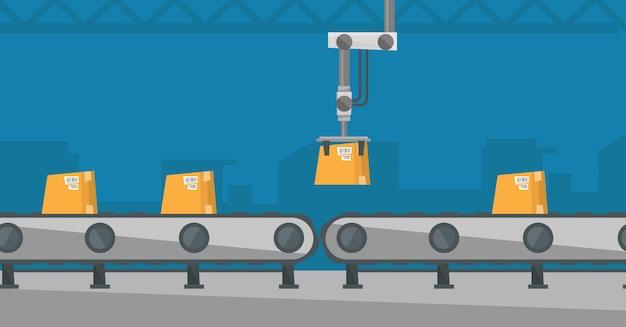 Nastro trasportatore per imballaggio robotizzato.