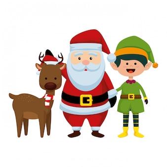 Natale babbo natale con renne ed elfo