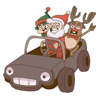 Natale babbo natale, elfi e renne in sella a una macchina