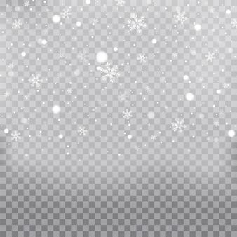 Natale che cade vettore di neve isolato su sfondo trasparente. effetto decorativo trasparente fiocco di neve. neve di natale per il nuovo anno.