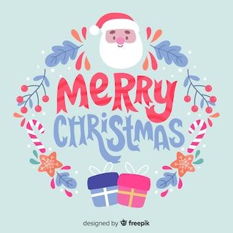 Natale che segna buon natale con santa