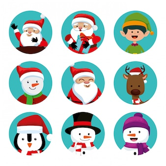 Natale con babbo natale e set di caratteri