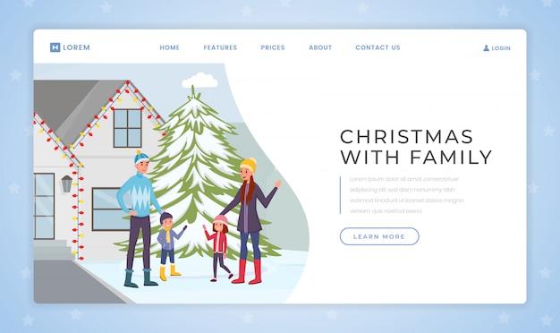 Natale con modello di pagina di destinazione della famiglia