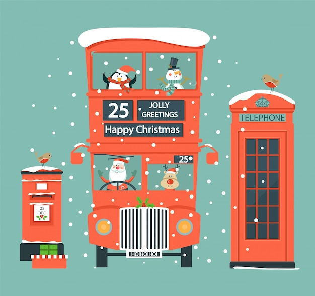 Natale con simboli inglesi.