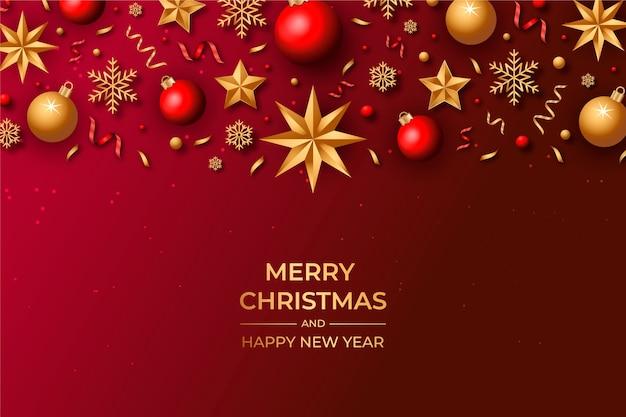 Natale di sfondo con decorazioni realistiche
