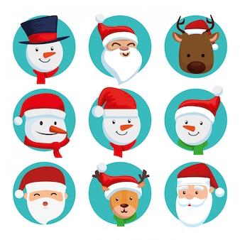 Natale di volti di babbo natale con set di caratteri