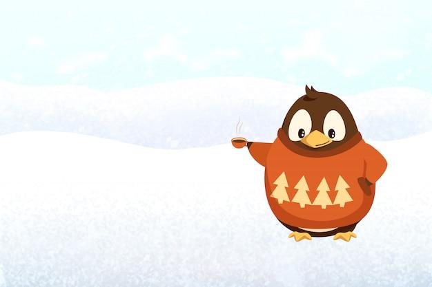 Natale e capodanno, pinguino con tazza di caffè