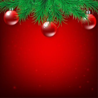 Natale e capodanno su sfondo rosso con rami di abete e palla di natale, vettore e illustrazione
