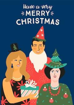 Natale e felice anno nuovo illustrazione con persone in costumi di carnevale