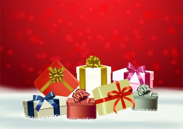 Natale e felice anno nuovo sfondo rosso vettoriale con regalo