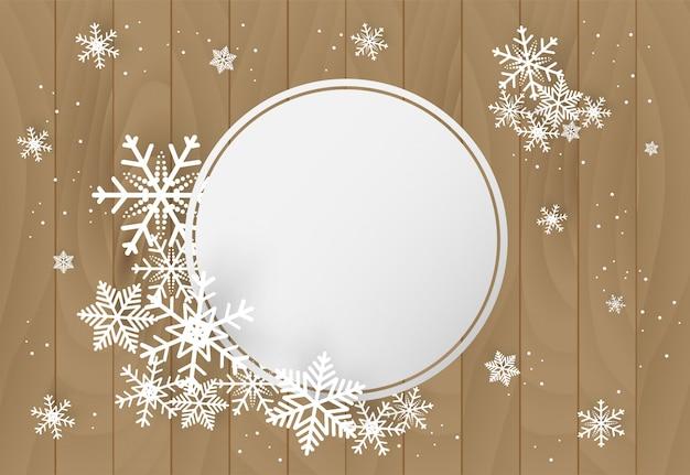 Natale e felice anno nuovo sfondo vettoriale con fiocco di neve