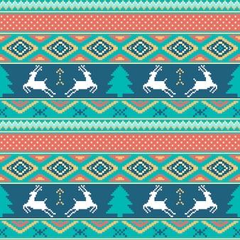 Natale e felice modello di nuovo anno. motivo a maglia tradizionale ornamentale senza saldatura.