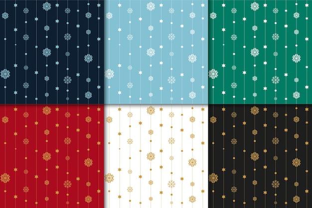 Natale e felice set di nuovo anno modello. motivo di vacanza invernale con fiocco di neve.