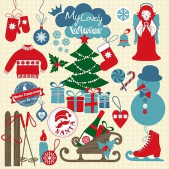 Natale e nuovi colori anno set di icone