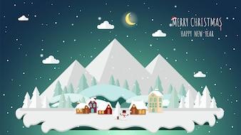 Natale e paesaggio sullo sfondo