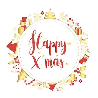 Natale felice saluto distintivo vettoriale