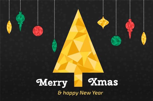 Natale in carta da parati in stile poligonale