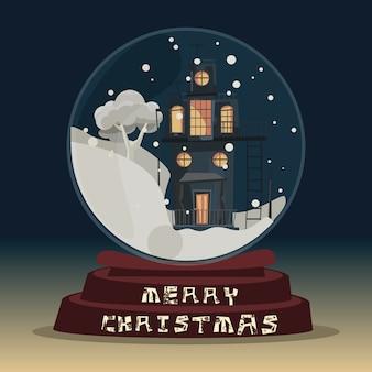Natale in palla di vetro per illustrazione vettoriale decorazione