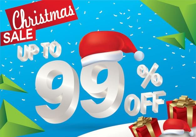 Natale in vendita al 99 percento. fondo di vendita di inverno con testo del ghiaccio 3d con il cappello il babbo natale